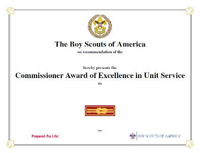 Commissioner Award of Excellence in Unit Service certificate
