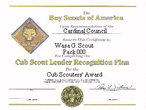 Webelos den leader training award volunteer training award certificate yelopaper Choice Image