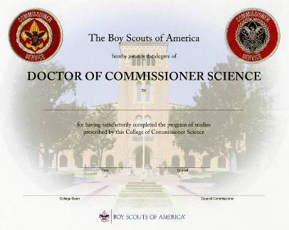 Doctorate of Commissioner Science diploma