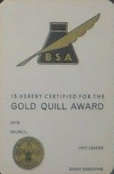Gold Quill Award certificate card