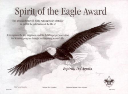 Spriit of the Eagle Recognition Certificate