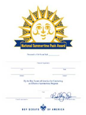 2000-era National Summertime Pack Award certificate
