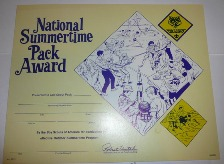 1974 National Summertime Pack Award certificate