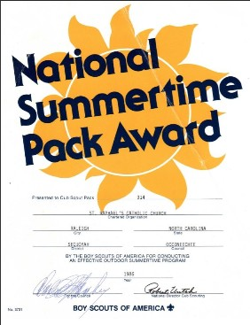 1980 National Summertime Pack Award certificate