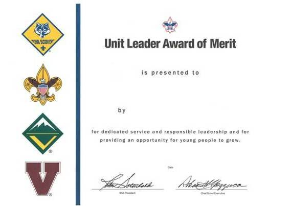 Unit Leader Award of Merit Certificate