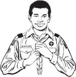 Illustration of wearing neckerchief with (legacy) uniform