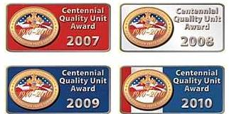 examples of the Centennial Quality Unit emblems.  There are also special emblems to recognize 100 percent Boy's Life units.