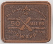 Leather version of the 50-Miler Award. There are two versions of this emblem; this is the older version.