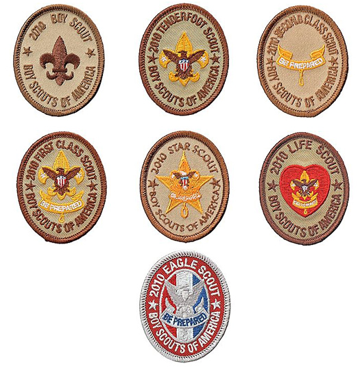 Boy Scout Anniversary rank insignia, from the BSA's official Supply Group bulletin