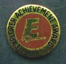 the Explorer Achivement Award pin (provided by Exploring Division BSA)