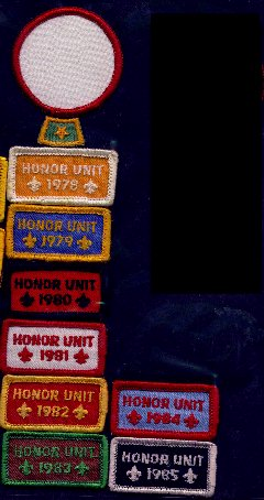 Honor unit emblems worn with Patrol medallion and Baden-Powell Patrol star