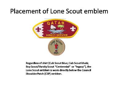 Wearing the Lone Scout emblem on the field uniform