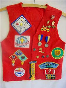 Red Scout vest with patches