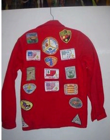 backside of jac-shirt showing assorted patches
