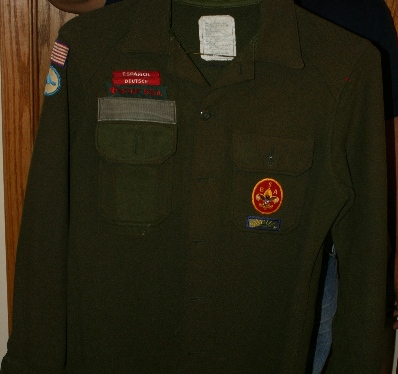 An example of a MILITARY green jac-shirt (front)